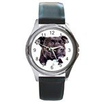 Staffie Black ^ Round Metal Watch