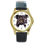 Staffie Black ^ Round Gold Metal Watch