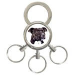 Staffie Black ^ 3-Ring Key Chain