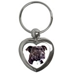 Staffie Black ^ Key Chain (Heart)