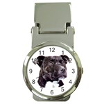 Staffie Black ^ Money Clip Watch