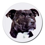 Staffie Black ^ Round Mousepad