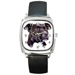 Staffie Black ^ Square Metal Watch