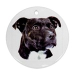 Staffie Black ^ Ornament (Round)