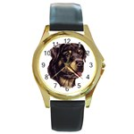 Rottweiler ^ Round Gold Metal Watch
