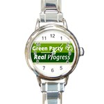Green Party ^ Round Italian Charm Watch