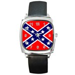 Confederate Rebel Flag ^ Square Metal Watch