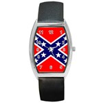Confederate Rebel Flag ^ Barrel Style Metal Watch