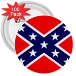Confederate Rebel Flag ^ 3  Button (100 pack)