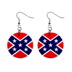 Confederate Rebel Flag ^ 1  Button Earrings