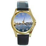 HK harbour Round Gold Metal Watch