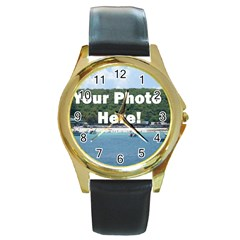 Make Your Own Round Gold Metal Watch from SnappyGifts.co.uk Front
