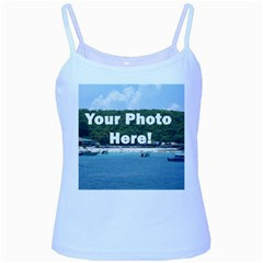 Your Photo Here copy Baby Blue Spaghetti Tank from SnappyGiftsUSA Front
