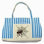 Spider in web Striped Blue Tote Bag