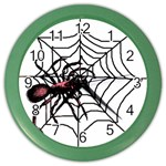 Spider in web Color Wall Clock