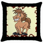 Cheeky pony Throw Pillow Case (Black)