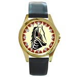 Horse head Round Gold Metal Watch