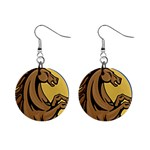 Horse circle 1  Button Earrings