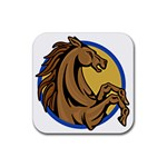 Horse circle Rubber Square Coaster (4 pack)