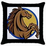 Horse circle Throw Pillow Case (Black)