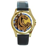 Horse circle Round Gold Metal Watch