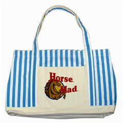 Horse mad Striped Blue Tote Bag from UrbanLoad.com Front
