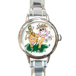 Cute cow Round Italian Charm Watch