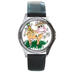Cute cow Round Metal Watch