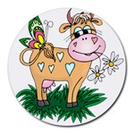 Cute cow Round Mousepad