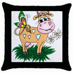 Cute cow Throw Pillow Case (Black)