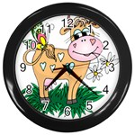 Cute cow Wall Clock (Black)