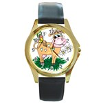 Cute cow Round Gold Metal Watch