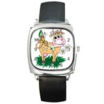 Cute cow Square Metal Watch