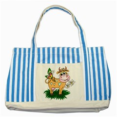 Cute cow Striped Blue Tote Bag from UrbanLoad.com Front