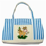 Cute cow Striped Blue Tote Bag