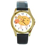 Funky sheep Round Gold Metal Watch