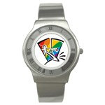 GAY COMING OUT Rainbow Pride Flag Lesbian Round Steel Watch