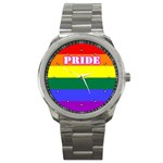 GAY PRIDE Lesbian Rainbow Flag Sport Metal Watch