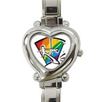 GAY COMING OUT Rainbow Pride Flag Lesbian Heart Charm Watch