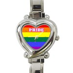 GAY PRIDE Lesbian Rainbow Flag Heart Charm Watch