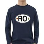 RO - Romania Euro Oval Long Sleeve Dark T-Shirt