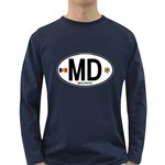 MD - Moldova Euro Oval Long Sleeve Dark T-Shirt