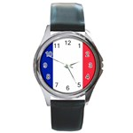 French Flag Round Metal Watch