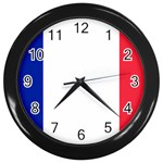 French Flag Wall Clock (Black)