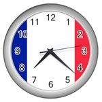 French Flag Wall Clock (Silver)