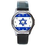 Israeli Flag Round Metal Watch