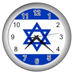 Israeli Flag Wall Clock (Silver)