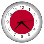 Japanese Flag Wall Clock (Silver)