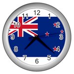 New Zealand Flag Wall Clock (Silver)