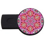 Pink Kaleidescope Fractal USB Flash Drive Round (1 GB)